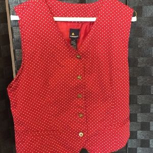 Red Vest w/ Star Pattern & Buttons - size 10 woman